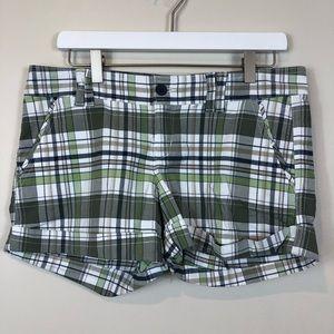 Ruehl No. 925 Green/Blue Plaid Cuffed Shorts 8 NWT